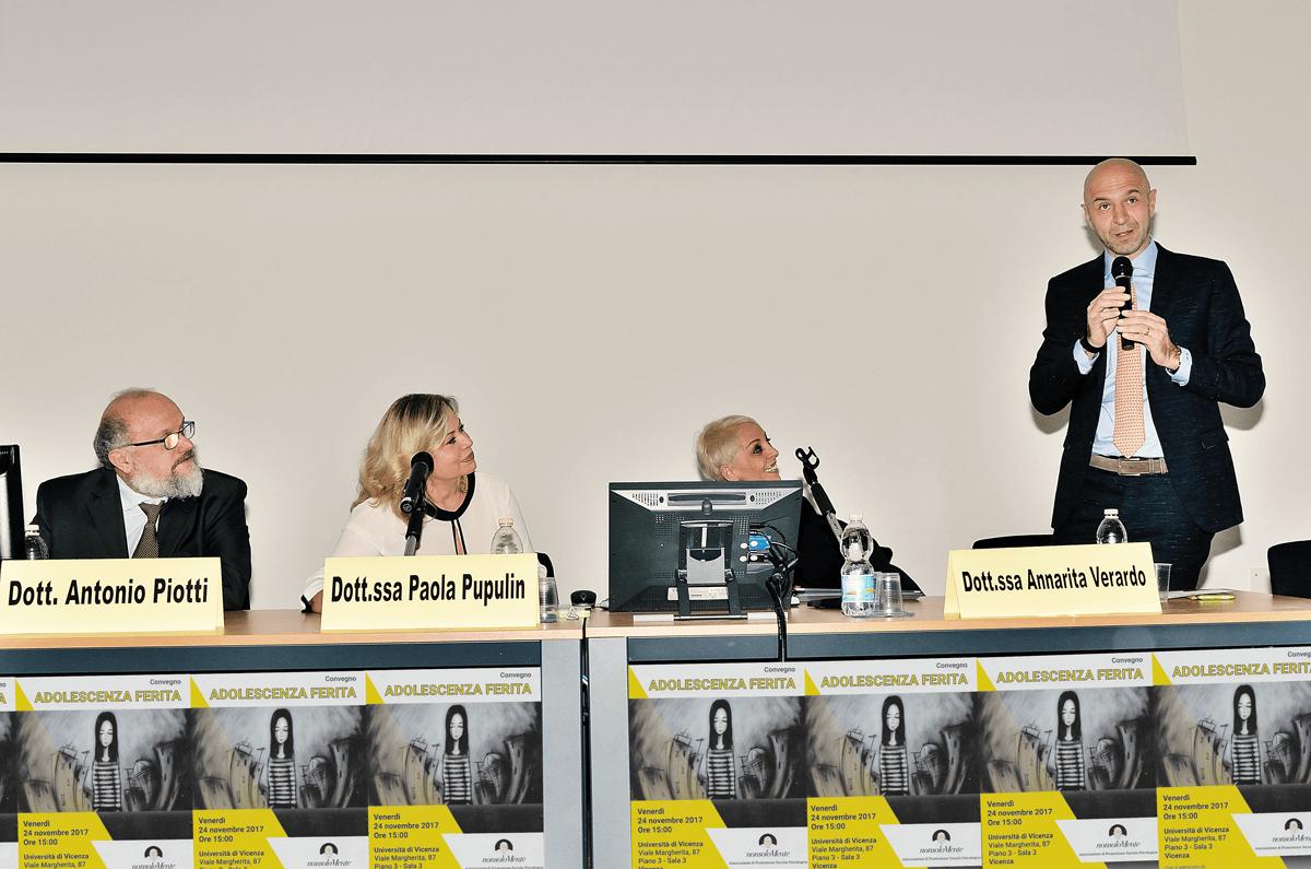 I relatori del convegno: dott. Piotti, dott.ssa Pupulin, dott.ssa Verardo, dott. Miotti